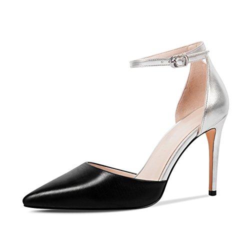 Ja Naisten Muoti For Matching Varten Fashion Koko Stiletto Size väri Kevään Summer Women's Piikkikorot Black Leather Heels Pointy Teräväkärkiset Jianxin Kesän Spring Musta 36 Sandals color And Nahkasandaalit nAq6wza7