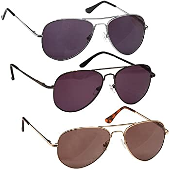 5089fbe5962f The Reading Glasses Company Silver Gold Gun Metal Grey Sun Readers Value 3  Pack Aviator Style Mens Womens SSS8-897 +3.00