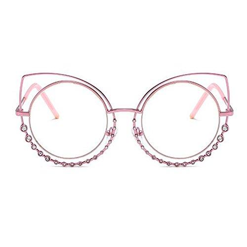 lentilles les plat lunettes rond métal de de soleil Eye en miroir Inlefen Cat lunettes femmes Mode Rose pour Transparent cadre Bwqavx71