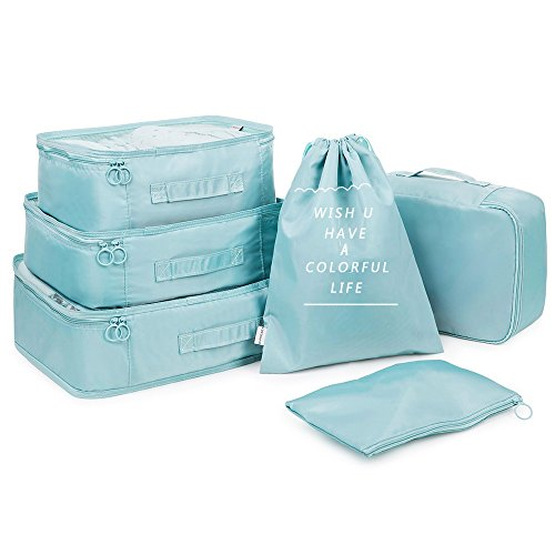 Lucky-M 6 Packing Cubes Travel Luggage Organizers, Perfect for Household Traveling Camping (Blue)