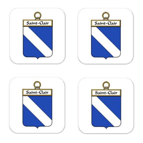 Saint Clair Family Crest Square Coasters Coat of Arms Coasters - Set of - Saint Clair Square