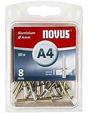 Novus Aluminium klinknagels 8 mm, 30 klinknagels, Ø 4 mm, 3,5-5,0 mm klemlengte, voor non-ferrometalen, kunststoffen en leer
