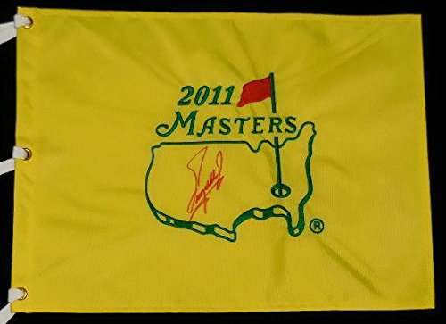 Fuzzy Zoeller Autographed Masters Golf Flag (w/Proof!) - Autographed Golf Pin Flags