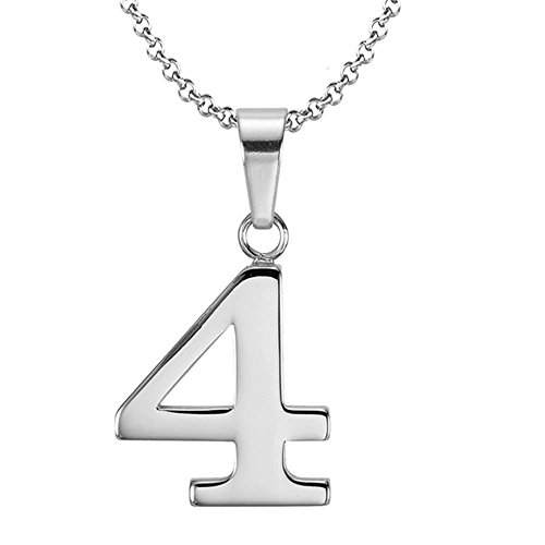 925 Sterling Silver Number 4 Charms Pendant Necklace with Chain - 4 Shop Number