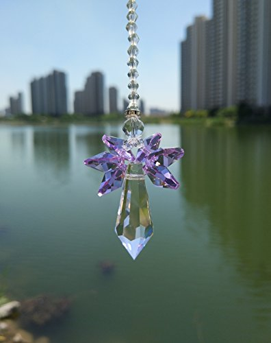 Waner Crystal Guardian Angel Suncatcher Car Charm for Rear View Mirror (Purple) ()