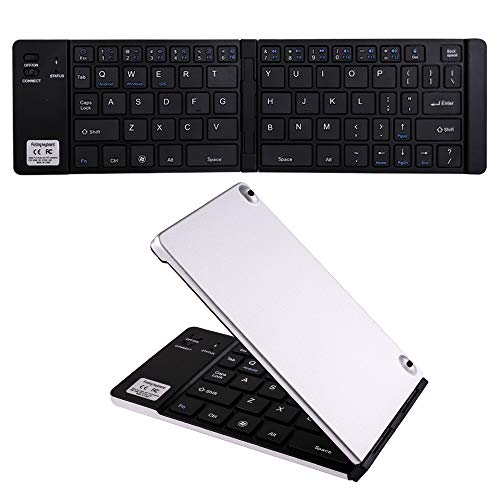 Ultra Thin Portable Wireless Bluetooth Keyboard Mini Foldable Folding Small Pocket Keyboard Metal Slim Rechargeable Fold Compatible with Apple iPhone iPad Samsung Tablets Phone Android iOS (Silver)