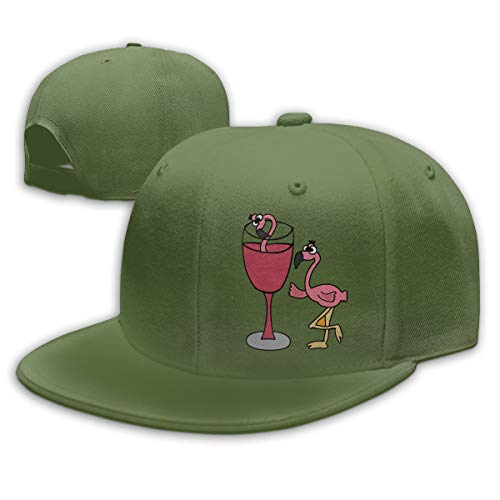 Sakanpo Pink Flamingo in Blush Wine Glass Flat Visor Baseball Cap, Designed Snapback Hat Moss Green