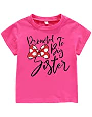 AMMENGBEI Toddler Girls T-Shirt Promoted to Big Sister Letters Print Kids Short Sleeve Tops Blouse 1-6 Years