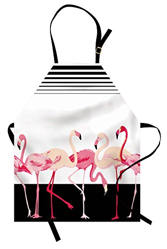 Lunarable Retro Apron, Pink Flamingo Birds on Background with Stripes Love Romance Shabby Form Graphic, Unisex Kitchen Bib with Adjustable Neck for Cooking Gardening, Adult Size, Black ()