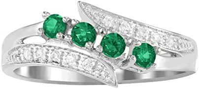 ARTCARVED Starlight Simulated Emerald May Birthstone Ring, 10K White or Yellow Gold or Silver