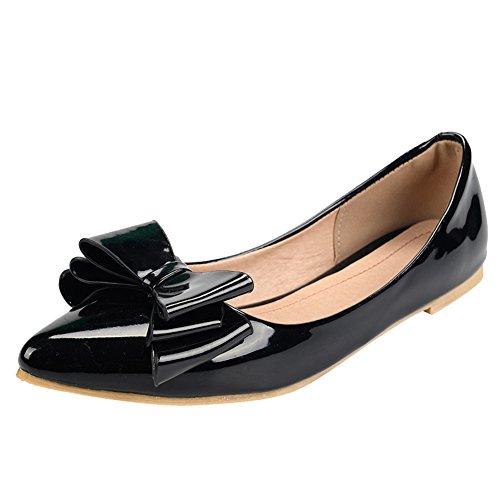 Show Shine Womens Bows Slip On Point Toe Flats Shoes Black pd4TEDeX