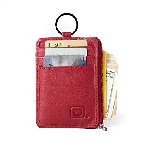 (RFID Slim ID Wallet Card Holder - Key Ring Front Pocket Wallet with Coin Zipper)