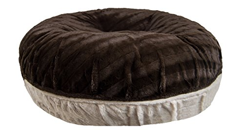 Bessie and Barnie Signature Godiva Brown/ Natural Beauty Extra Plush Faux Fur Bagel Pet / Dog Bed (Multiple Sizes)