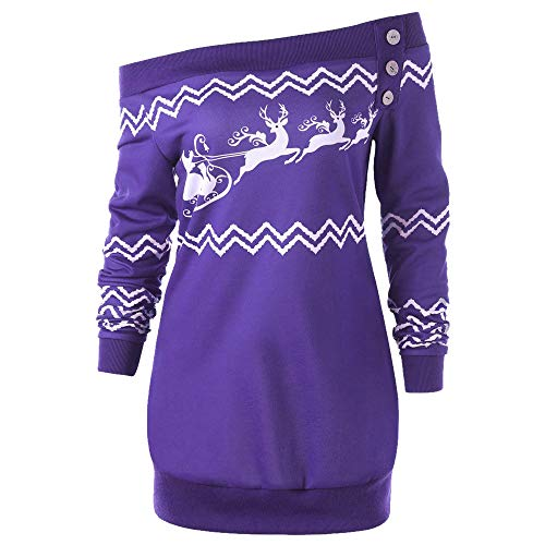 Price comparison product image Clearance!Youngh Christmas Womens Sweatshirt Plus Size Deer Elk Printed Loose Skew Neck Casual Blouse T Shirt Tops