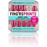 Fingrs Fing'rsprints Pre-Glued Nails, Simply Chic Look Polished, 24 Count