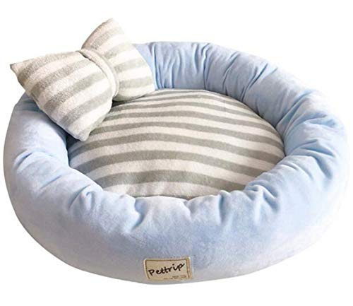 Dog Luxury Bed Donut (FEIF Pet Bed for Dogs and Cats, Luxury Dog and Cat Bed with Blanket for Warmth and Security - Offers Head, Neck and Joint,Blue)