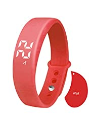 Lolipp Smart Bracelet Sports Watch with Sleep Monitoring/3D Pedometer/Calorie Monitor/Real Temperature Display/Silent Alarm Clock/Time/Date - Red