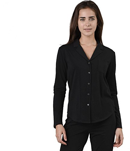 Naked Women's Essential Cotton Spandex Long Sleeve Button-up Pajama Set, Black, Large by Naked