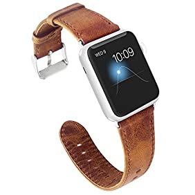 KADES Genuine Leather Apple Watch Band 42mm Wristband with Retro Crazy Horse Texture for iWatch All Version (CH, Brown)