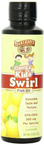 Omega remolino de aceite de pescado aceites orgánicos cabrito de Barlean, sabor de limonada, botella de 8 onzas