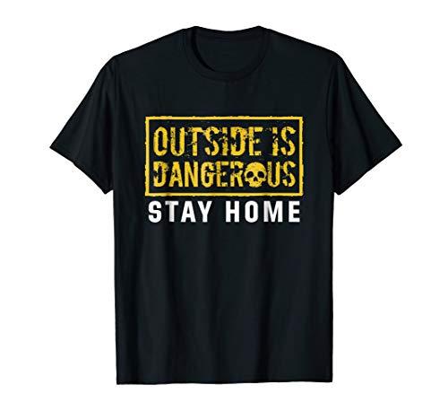 EmmaSaying: Outside Is Dangerous Skull Design Cool T-Shirt ()