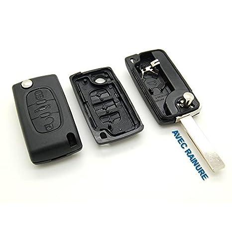 Carcasa para llave plip con mando a distancia, con ranura, para Peugeot