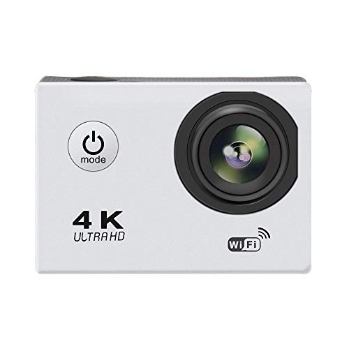 Wi-Fi 4K Action Camera Waterproof 140 Degree Wide Angle Sports Camera with Night Camera & Motion Track Function (Silver)