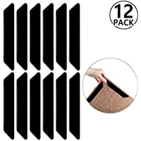 Rug Grippers by Yosemy,12pcs Black Anti Slip Rug Gripper,Stops Carpet Slipping,Premium Gripper For Hard Floors and Kitchen Bathroom