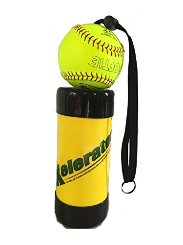 (Xelerator 2nd Gen Softball Pitching Trainer w/Leather Ball (Yellow, 12