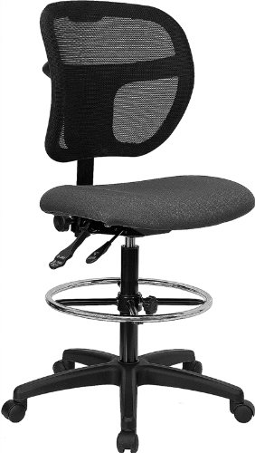 Flash Furniture Mid-Back Gray Mesh Drafting Chair