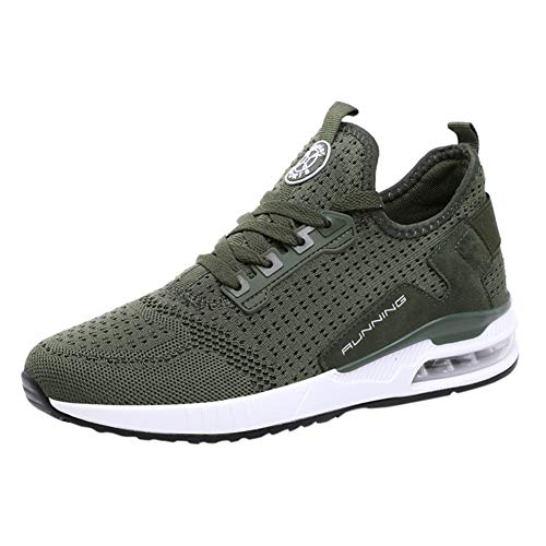 Men's Running Shoes Fashion Breathable Sneakers Mesh Soft Sole Casual Athletic Lightweight Green