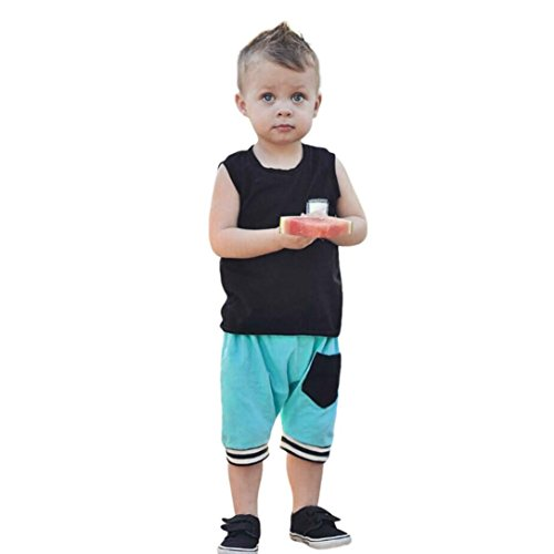 FEITONG Infant Baby Boys Girls Solid Tops Vest Shorts Outfits Brother Sister Clothes Set Siblings Equipment ()