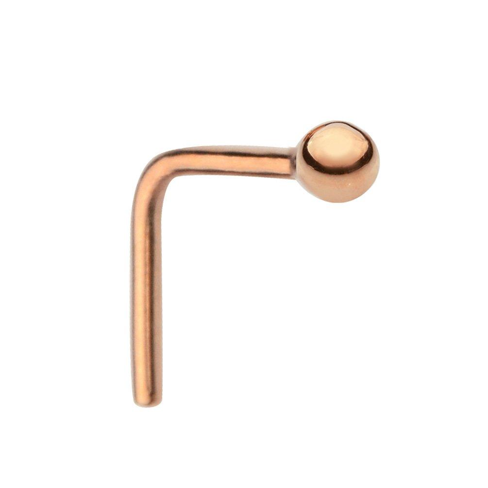 Nose Ring - Nose Stud - Nose Piercing - 14K Solid Rose Gold 22 Gauge 1.5mm Ball