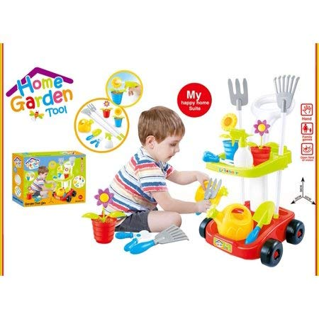 Fun,Imaginative and Colorful Home Garden Tool Set for Kids Toys w / Cart to Carry Their Favorite Gardening Tools, Multicolor,Ideal Gift for Kids