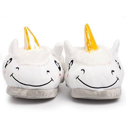 Katara - Chaussons licorne, pour femmes, pantoufles chaudes blanches en peluche, chaussons fermés de maison, taille unique, conviennent aux tailles 36-44