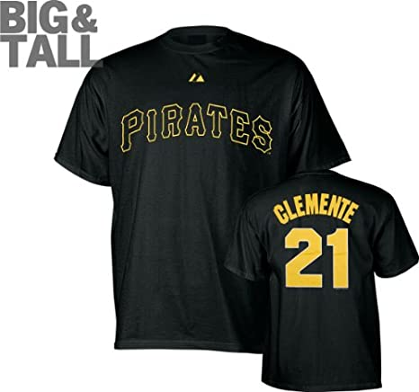 3a0c62a89 Majestic Pittsburgh Pirates Roberto Clemente Black Big Jersey T-Shirt (6X)