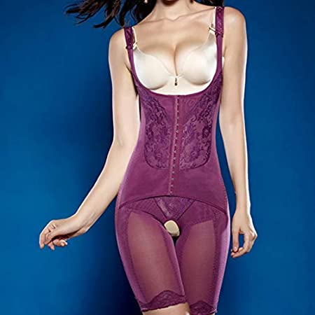 2019 Corsets Tummy Firm Control Bodysuit Shapewear for Women Seamless Mid Thigh Slimmer Body Shaper Crotch Open Purple, 2XL