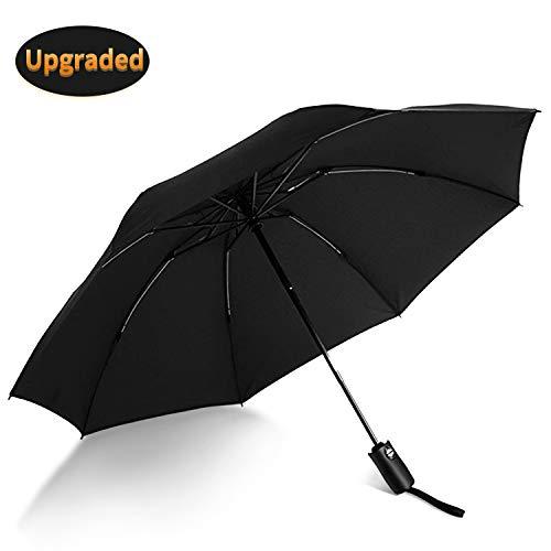 VATI Umbrella, Travel Umbrella Windproof with 210T Teflon Coating, Compact Folding Umbrellas with Ergonomic Handle, Auto Open/Close (Black)