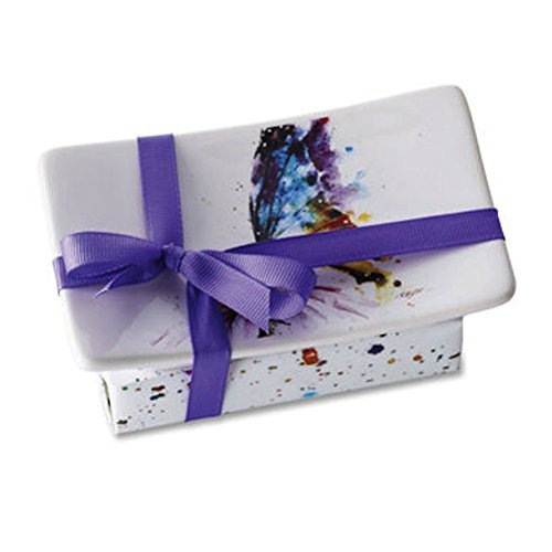 Dean Crouser Watercolor Soap Dish Gift Set with Scented Soap, Butterfly