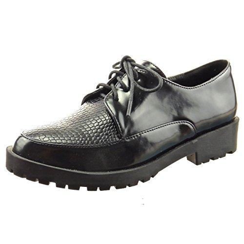 Sopily - Scarpe da Moda scarpa derby bi-materiale alla caviglia donna finitura cuciture impunture verniciato Tacco a blocco 3.5 CM - Nero
