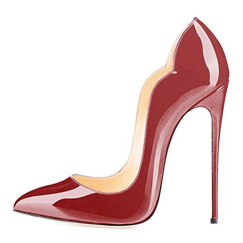 ELASHE Women High Heels Pumps | Pointed Toe Stiletto | 12cm Elegante Court Shoes Wine ETY8Li