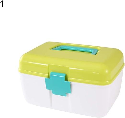 beiguoxia Caja de Medicina Multiusos, portátil, con asa, Organizador de medicinas, Caja de Almacenamiento de plástico para el hogar, Polipropileno, One Color, 1: Amazon.es: Hogar