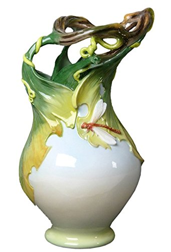 XoticBrands Decorative 11.81 Inch Grapevine and Dragonfly Vase - Animal, (H) 11 3/4, White