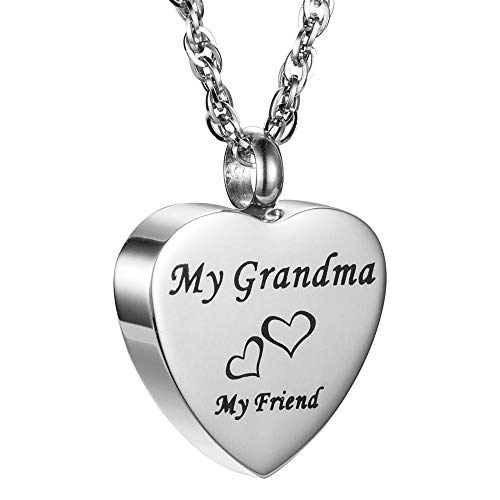 Grandmas Antique Keepsakes - LEODI My Friend Love Heart Stainless Steel Ashes Cremation Jewelry Keepsake Memorial Urn Necklace (Grandma)