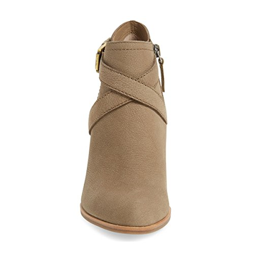 YDN Strappy Closed Wedge Booties Buckle Ankle Heels Khaki Toe Boots Crisscross Women High with Shoes Leather r4v0rpxq