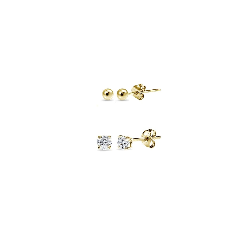 2 Pairs Gold Flash Sterling Silver 3mm Unisex Mini Small Ball Stud and Tiny Round CZ Stud Earrings Set