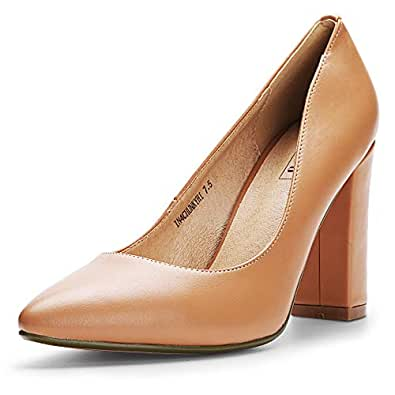 IDIFU Women's IN4 Chunky-HI Classic Closed Pointed Toe Pumps High Chunky Block Heels Dress Office Shoes Beige Size: 9.5