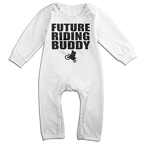 [Baby Infant Romper Future Riding Buddy Long Sleeve Bodysuit Outfits Clothes White 24 Months] (Man Riding Teddy Bear Costume)