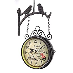 Dyna-Living Double Sided Wall Clock, Wrought Iron Vintage Clock Two Faces Dual Side Clock European Style Bird Clock, Non-Ticking Clock with Mounting Bracket for Home Décor