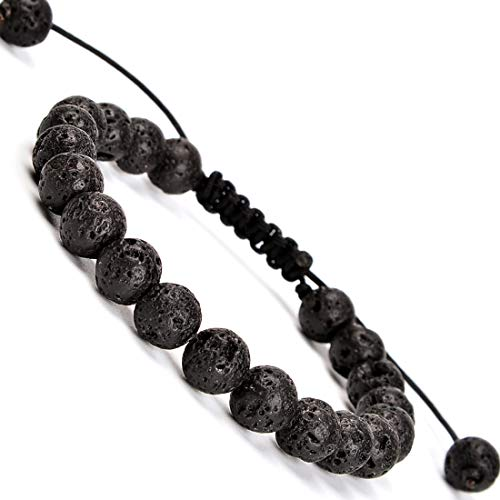 Massive Beads Natural Earth Lava Rock 8mm Braided Macrame Bracelet Gemstone Gifts(Black Lave)